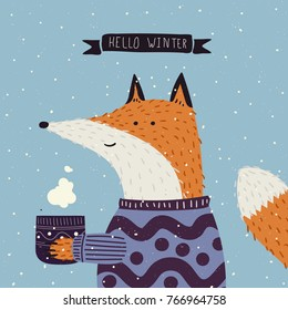 Christmas cartoon New Year characters. Fox in winter clothes. Greeting card design in blue and violet colors. Forest animals, winter holiday. Vector illustration