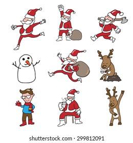 Christmas cartoon set Santa and reindeer