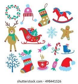 Christmas cartoon set. Vector illustration.