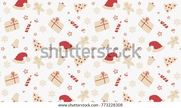 Christmas Cartoon Vector Christmas Pattern Wallpaper Stock