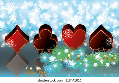 Christmas casino banner with poker elements, vector illustration