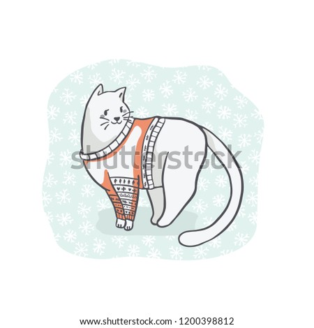 Christmas Cat Embroidery Sweater Clipart Hand Stock Vector Royalty