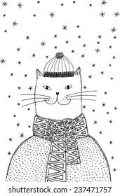 Christmas Cat. Hand-drawn illustration.
