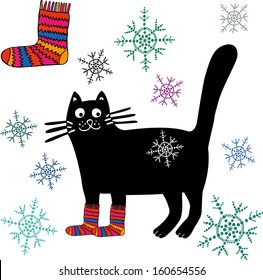Christmas cat with knitted socks and winter details. Hand drawn illustration.