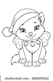 Christmas cat with Santa hat, Coloring Page design