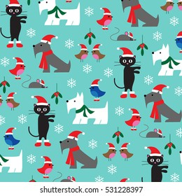 christmas cats and dogs pattern on blue