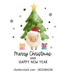 Christmas celebration with cute sheep and Christmas tree, watercolor vector illustration.