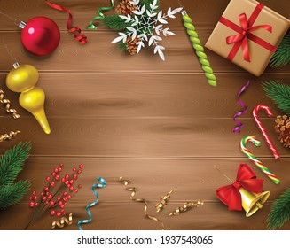 Christmas celebration decoration composition on wood with merry holiday symbols realistic vector illustration