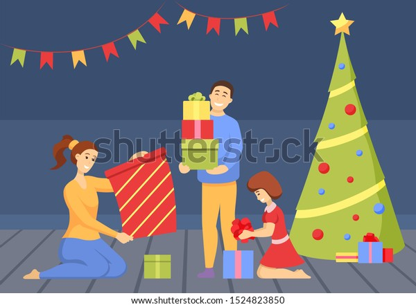 Christmas Celebration Family Vector Mother Father Stock Vector Royalty Free 1524823850