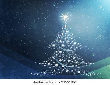 Christmas celebration with tree and stars