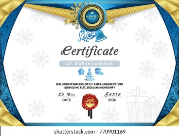 Christmas certificate. Blue gold border and snowflake emblem, Gold portrait of Santa on the red wafer. Bright Xmas background