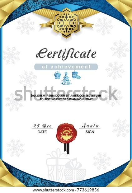 Christmas Certificate Border.Christmas Certificate Blue Gold Border Snowflake Stock