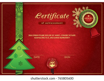 Christmas certificate. Red green gold Christmas background