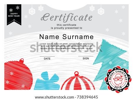 Christmas Certificate Santa On Badge Christmas Stock Vector Royalty