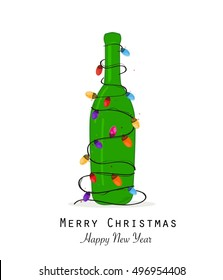 Christmas champagne bottle with colorful christmas light bulb vector greeting card vector