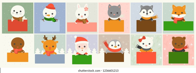 christmas character and board for use as poster or banner