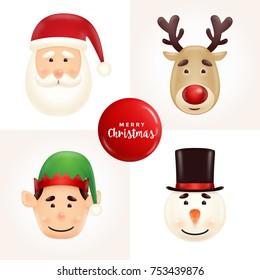 Christmas character face illustration set - Santa, reindeer, elf, and snowman