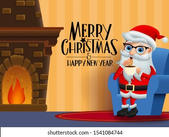 Christmas character santa claus eating vector background design. Merry christmas greeting text with santa claus character sitting, eating cookie and drinking coffee in room with chimney in orange wall