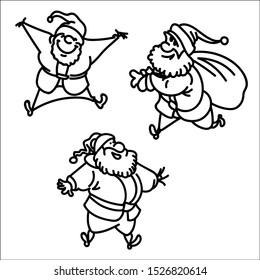 Christmas Character set of Santa Claus, Cartoon vector illustration.
