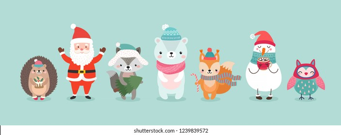 Christmas characters - animals, snowmen, Santa Claus. Cute Woodland characters, bear, wolf, hedgehog, owl and squirrel. Vector illustration.