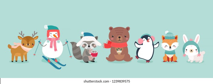 Christmas characters - animals, snowmen, Santa Claus. Cute Woodland characters, bear, fox, raccoon, deer, penguin and rabbit. Vector illustration.