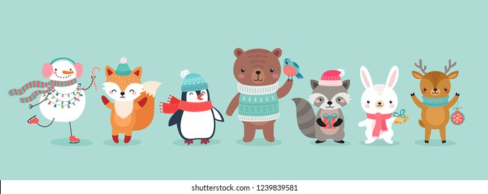 Christmas characters - animals, snowmen, Santa Claus. Cute Woodland characters, bear, fox, raccoon, hedgehog, penguin and squirrel. Vector illustration.