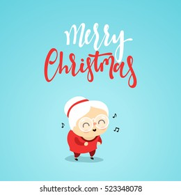 Christmas characters cute an elderly woman in the style of flat. Grandma listens and enjoys listening to music on. Girl at the age of funny cartoon