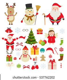 Christmas characters and festive new year decorations. Santa Claus, snowman, reindeer, decorations for Christmas trees, gifts.
