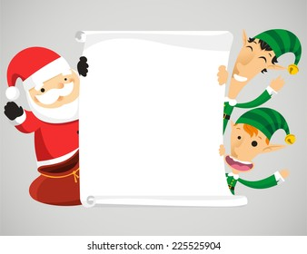 Christmas characters holding banner vector cartoon illustration
