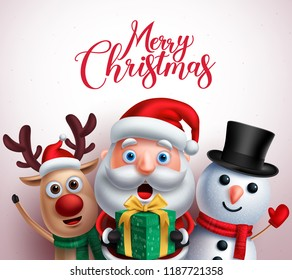 Christmas characters like santa claus,reindeer and snowman holding gift with merry christmas greeting in white background. Vector illustration.