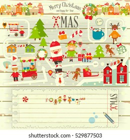 Christmas characters on White Wooden Background. Xmas Toys and Blank Greeting Note with Place for Text.  Vector Illustration.