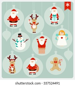 Christmas Characters - Santa Claus, Angel, Reindeer, Snowman, and Christmas Cookie in cute globe decorations