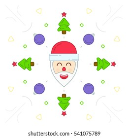 Christmas characters Santa Claus flat abstract. New Year cover. Vector flat illustration.