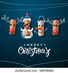 Christmas characters, Santa Claus snowman and reindeer, made from wine cork, art and craft Christmas decoration, vector illustration.