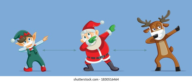 Christmas Characters Social Distancing During Pandemic Outbreak. Santa Claus working next to reindeer and magic elf for a safe Holiday