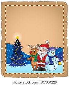 Christmas characters theme parchment 2 - eps10 vector illustration.