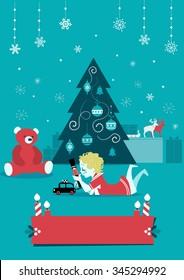 Christmas Child with toys - Cartoon vector illustration