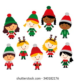 Christmas children vector.