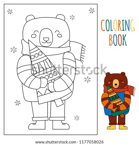 Christmas Children Winter Coloring Page Kids Stock Vector (Royalty ...