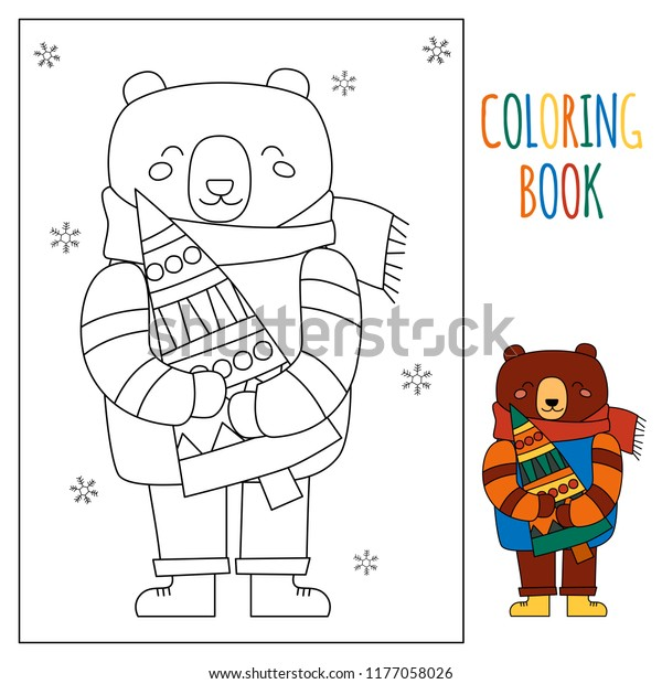Christmas Children Winter Coloring Page Kids Stock Vector ...