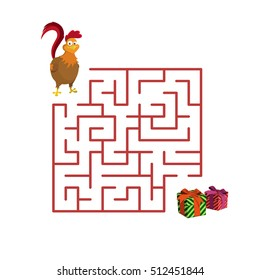 Christmas children's game: rooster in the maze. Help cock to get out of the labyrinth. Vector illustration.