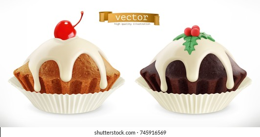 Christmas chocolate cupcake. Fairy cake with cherry. 3d realistic vector icon