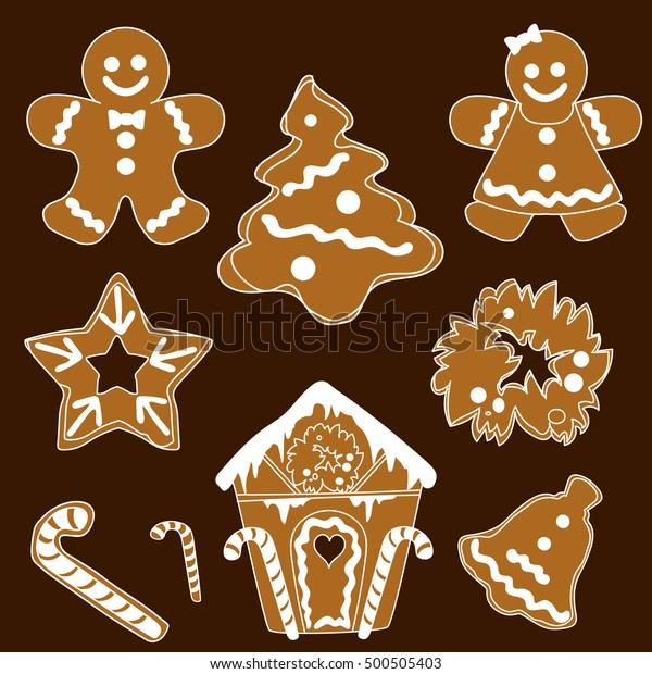 Christmas Chocolate Gingerbread Vector Christmas Sweets Stock Vector
