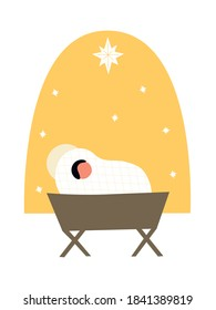 Christmas Christian Nativity scene of baby Jesus in a manger. Postcard in modern flat abstract style. Bethlehem city and Christmas star. Nursery religion illustration. Star as miraculous sign.