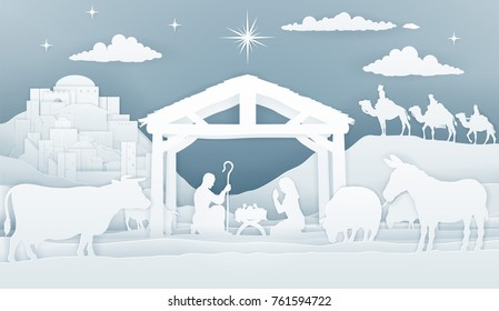 Christmas Christian Nativity Scene of baby Jesus in manger with Mary and Joseph silhouetteS. Surrounded by animals and three wise men magi with city of Bethlehem in distance. vintage paper art style.