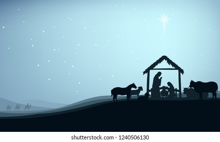 Christmas christian nativity scene, illustration Birth of Christ, Christmas Manger scene with baby jesus surrounded by animals and the three wise men.