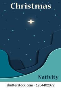 Christmas Christian nativity scene. Star of Bethlehem. Christmas background