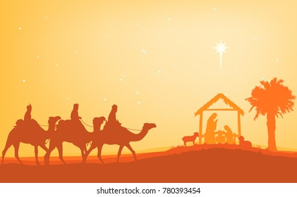 Christmas Christian Nativity Scene, the three wise men on camels through the desert with the star of bethlehem