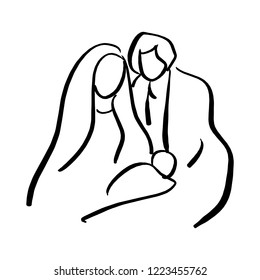 Christmas Christian religious Nativity Scene of baby Jesus with Mary and Joseph vector illustration sketch doodle hand drawn with black lines isolated on white background
