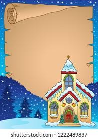 Christmas church building parchment 1 - eps10 vector illustration.